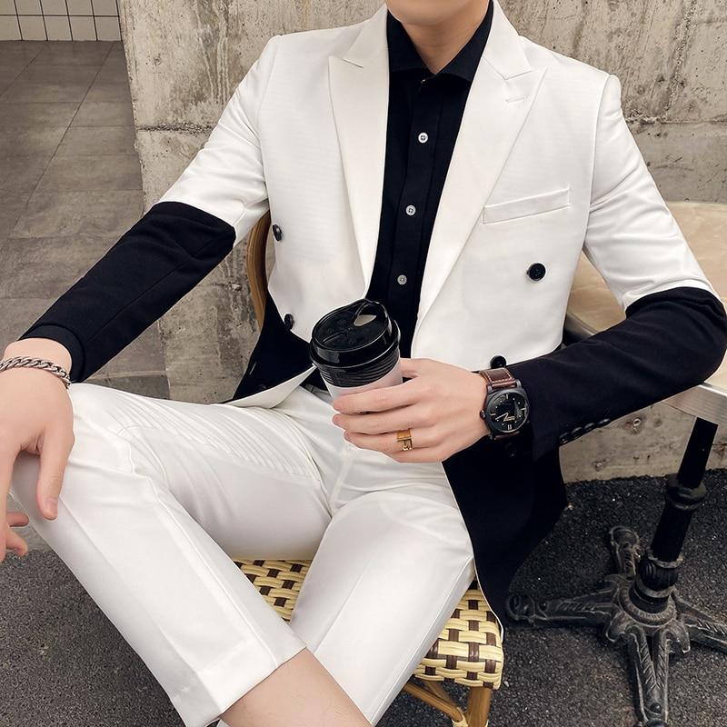 Black And White Men Suit Fashion 2020 Formal Wear Korean Slim Fit Business Suit Men Streetwear Double Breasted Prom Tuxedo 3XL