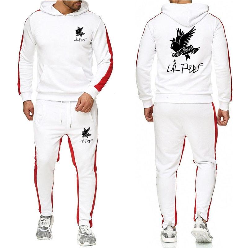 Harajuku Two Pieces Set Fashion Hooded Sweatshirts Sportswear Men Tracksuit Hoodie Autumn Men Brand Clothes Hoodies+Pants Sets