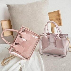2pcs/set Fashion Transparent Clear PVC Shoulder Bag Women Jelly Totes PU Leather Clutch Totes Travel Crossbody Handbag Composite
