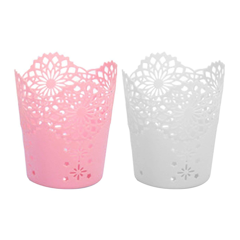 2Pcs Pen Holder Round Plastic Brush Pencil Storage Organiser Wastebasket Lace Hollow Desk Tidy Pot(Pink & White)