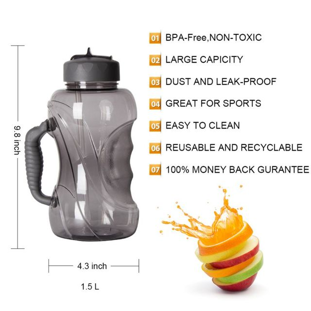 BPA Free Leak-Proof Water Bottle with Straw and Handle