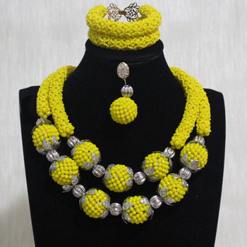 Dudo Store Women Jewelry Set Yellow Beaded Balls Nigerian Wedding African Beads Set Dubai With Silver DIviders 2 Layers 2019 New