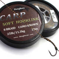 20M Carpe Ligne De Pêche Tressée 8 Brins Carpe Hooklink Camo Brun Doux Crochet Lien Ligne 15/25/35LB Carpe Plate-Forme De Fil pour La Pêche