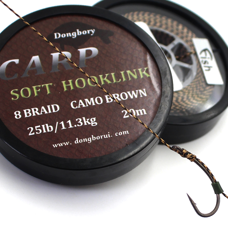 20M Carp Fishing Line 8 Strands Braided Carp Hooklink Camo Brown Soft Hook Link Line 15/25/35LB Carp Rig Wire For Fishing Tackle