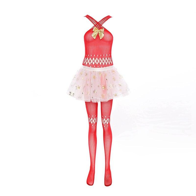 Sexy Lingerie Hot Erotic Red Fishnet Body Stocking White Mesh Mini Skirt Christmas Girl Sexy Costumes For Adult Women