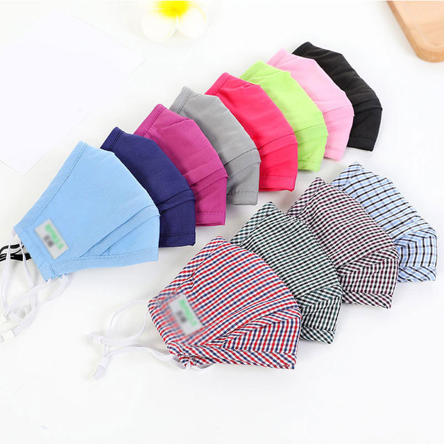 Masks Cotton PM2.5 Anti Dust Activated Carbon Filter Bacteria Proof Flu Mouth-muffle Masks Plaid Smog Protection Repeatable Mask 1