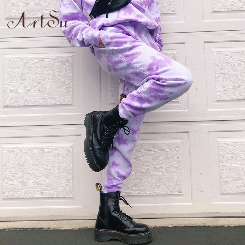 Artsu Tie Dye Sweatpants Women Elastic High Waist Baggy Pants Hip Hop Casual Loose Pants Lady Fashion Pink Trousers Pink Cothes