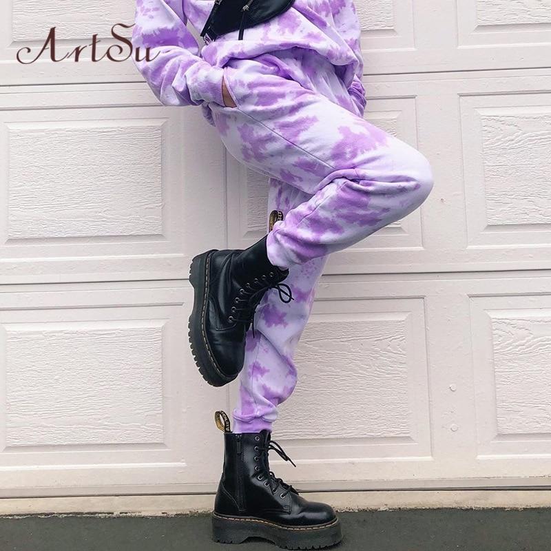 Artsu Tie Dye Sweatpants Women Elastic High Waist Baggy Pants Hip Hop Casual Loose Pants Lady Fashion Pink Trousers Pink Cothes