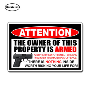 HotMeiNi, 13cm x 8,9 cm, pegatina de estilo armado para coche, pegatina de pistola de enmienda, alarma, ventana de advertencia, pegatina de cristal para puerta, pegatina de coche a prueba de agua