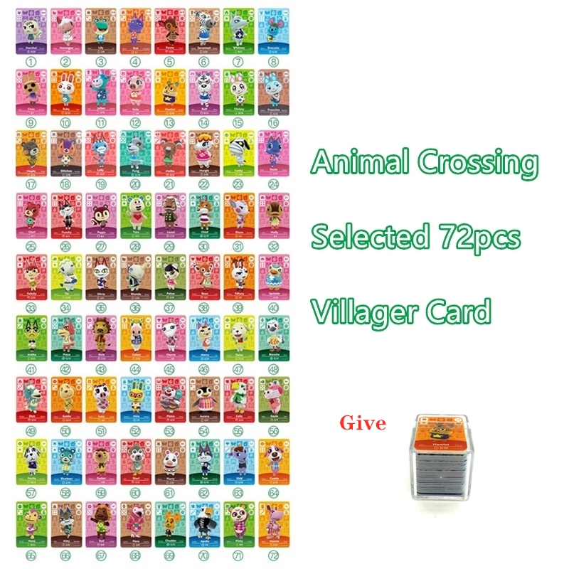 Selected Hot 72pcs Animal Croxxing Villagers Mini Card Ntag215 Tags NFC Game Cards NS Switch WiiU With Crystal Box Free Shipping