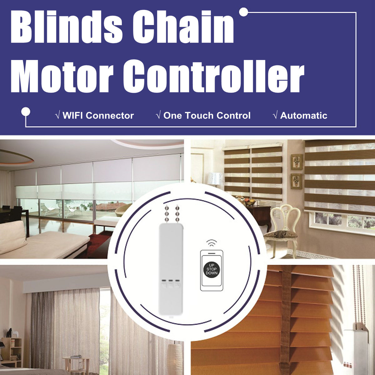 WIFI Tuya Smart Chain Curtain Motor Alexa/Google Control Roller Blinds Motor By MOBILE/REMOTE Control Curtain 100-240V 55rpm
