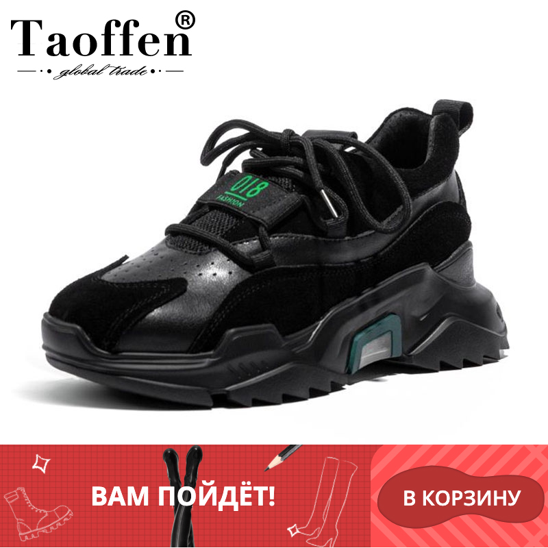 Taoffen Genuine Leather 2020 New Arrival Hot Sale Ladies Sneakers Thick Bottom Luxury Brand Shoes Daily Club Footwear Size 35-40