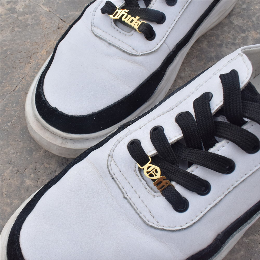Baby Girl Shoelace Buckle Old English Letters Gothic Shoe Tag Fuk Off Gold Buckie Shoe-buckle Accessories BFF Fashion Jewelry