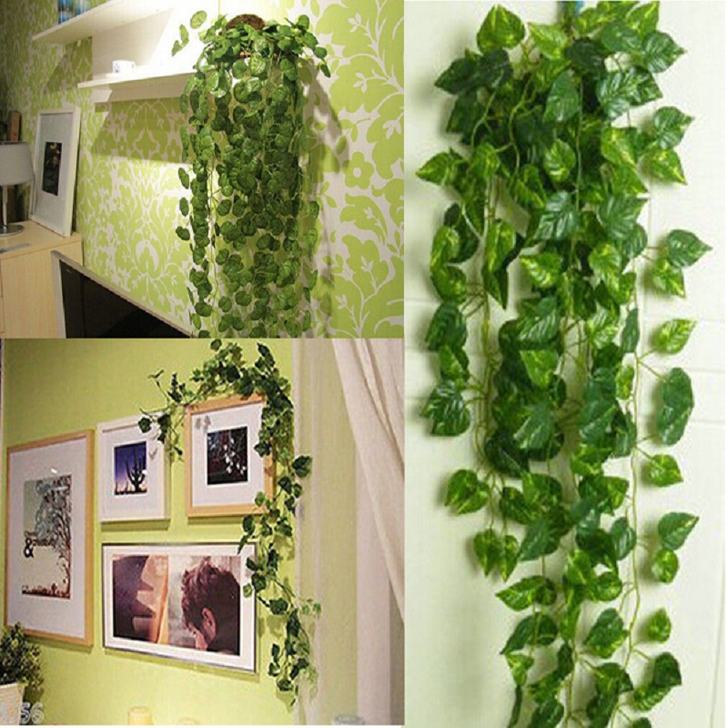 4pcs 2m Artificial Green Leaf Ivy Vine Plant Fake Foliage Wedding Party Decoration Plantas Artificiais Plantas Artificiais Artificial Green Leavesivy Vine Aliexpress