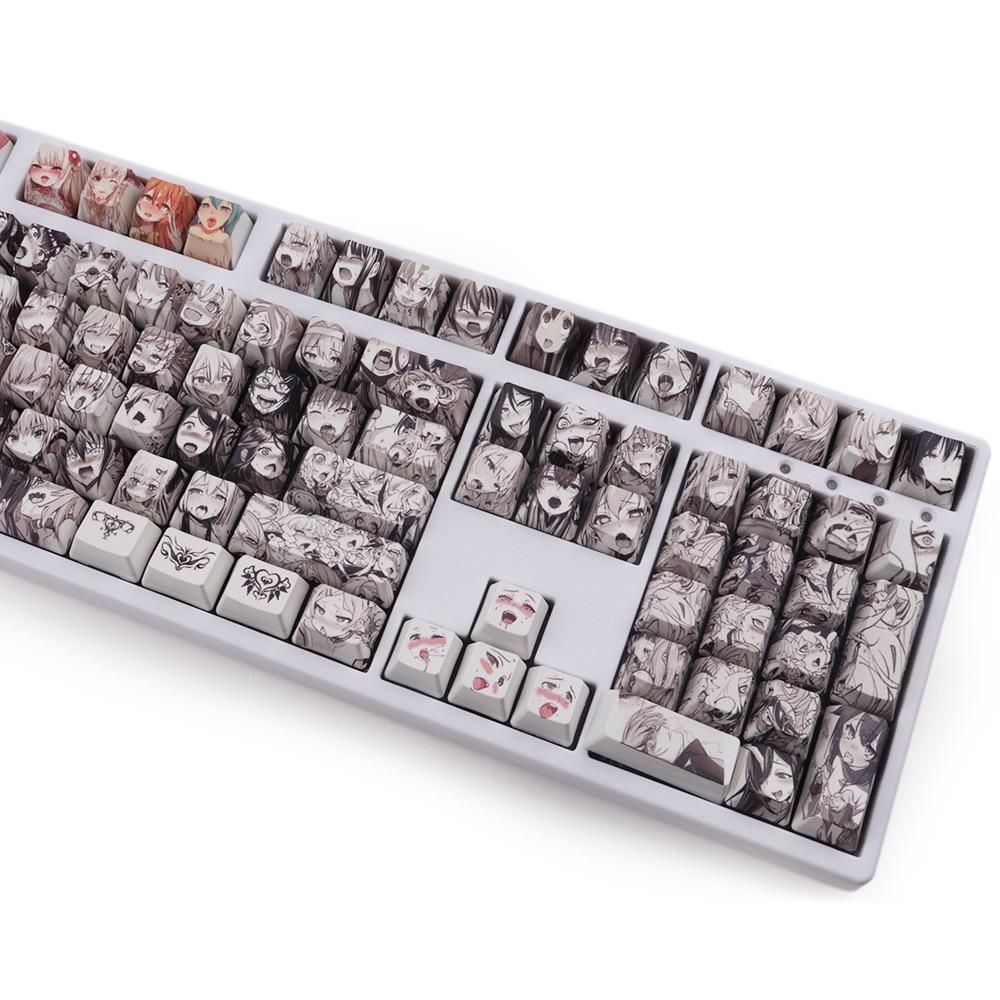 9 Key Glorious Ahegao Keycap Set For Mechanical Keyboard Anime