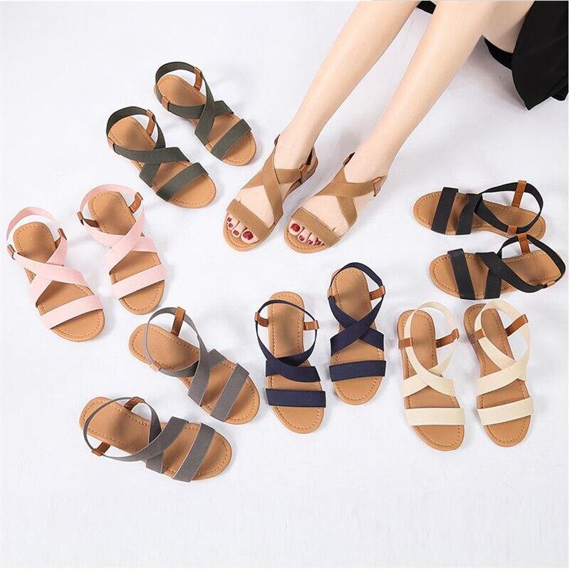 Women's Sandals Spring Summer Ladies Shoes Low Heel Anti Skidding Beach Shoes Peep-toe Casual Walking Flat Sandalias Female