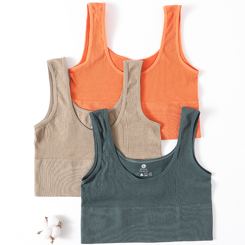 Womens Crop Tops Ribbed Summer Tank Top Cropped Underwear Scoop Neck TShirt Top Seamless Bralette Lingerie Fashion Sexy Camisole