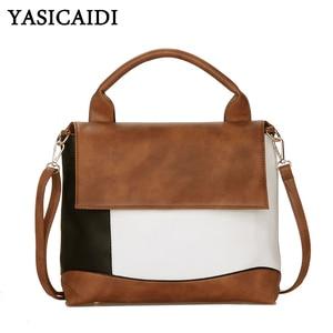 Image 1 - YASICAIDI Fashion Patchwork Pu Leather Handbags Luxury Brand Women Crossbody Shoulder Bag Female Casual Tote Ladies Hand Bags
