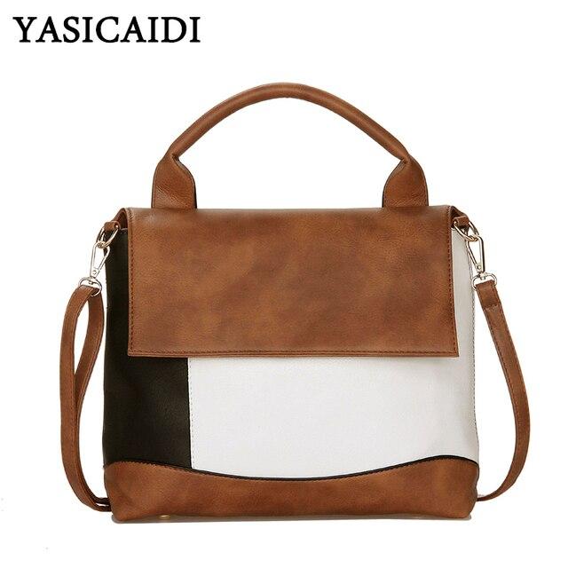 YASICAIDI Fashion Patchwork Pu Leather Handbags Luxury Brand Women Crossbody Shoulder Bag Female Casual Tote Ladies Hand Bags