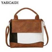 YASICAIDI แฟชั่น Patchwork PU หนังกระเป๋าถือแบรนด์หรูผู้หญิง Crossbody ไหล่กระเป๋าหญิง Casual Tote กระเป๋าสุภาพสตรี