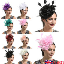 Brand New Fashion Ladies Fascinator Feather Flower Hair Clip Hairpin Wedding Church Cocktail Party Headwear Accessories