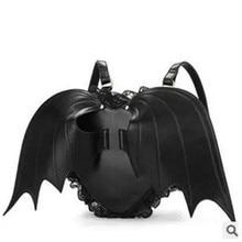 PU Leather Backpack Women Bat Wings Backpacks Teenage Girls Mini Black Bag Fashion Cute Little Devil Shoulder Package