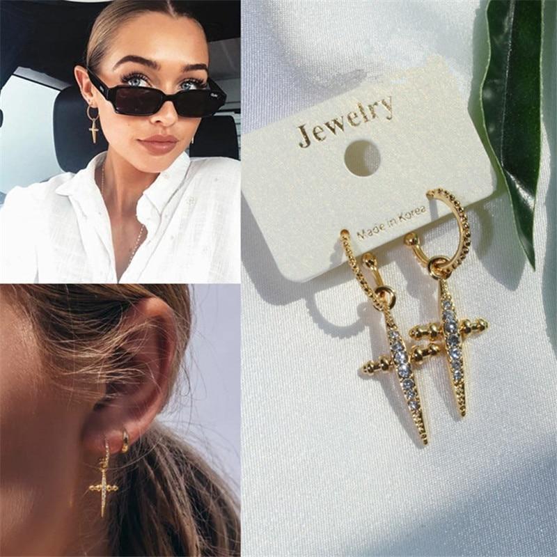 MWSONYA New Korean Version Retro Cross Rhinestone Pendant Earrings Fashion Elegant for Women Earrings Jewelry Gifts