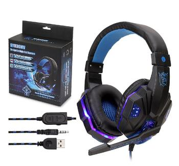 Wired Gamer Earphone Gaming Headset USB Luminous Gamer 3.5mm+USB Stereo Headphone Folding Earpiece for PS4-Laptop-Switch
