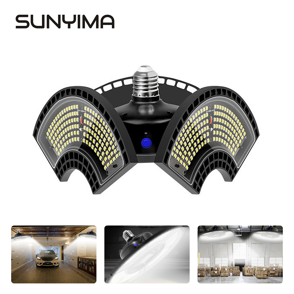 SUNYIMA Garage Lamp Deformation Round 120W  LED Workshop Light Waterproof IP65 Pendant Lights Industrial Lamp Ceiling Light