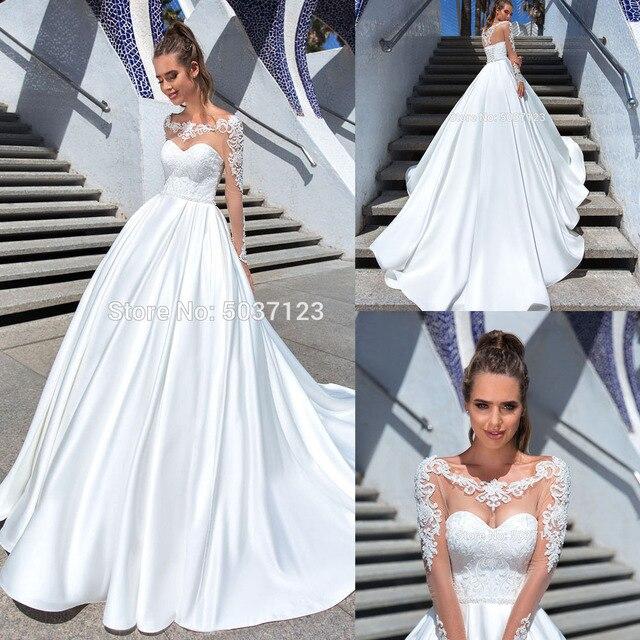 Vestido De Noiva EEN Lijn Lange Mouwen Trouwjurken Kant Applicaties Scoop Lace Up Hof Train Bridal Wedding Gown Custom