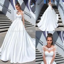Vestido De Noiva linia długie rękawy suknie ślubne koronkowe aplikacje Scoop koronki Up sąd pociąg suknia ślubna niestandardowe