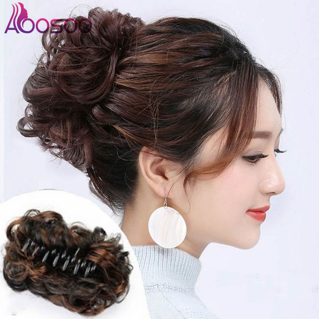 AOOSOO  short High Temperature Fiber Hair Bun Synthetic Hair  curly  Claw Clip in/on Ponytail Hair Extensions  4colors available