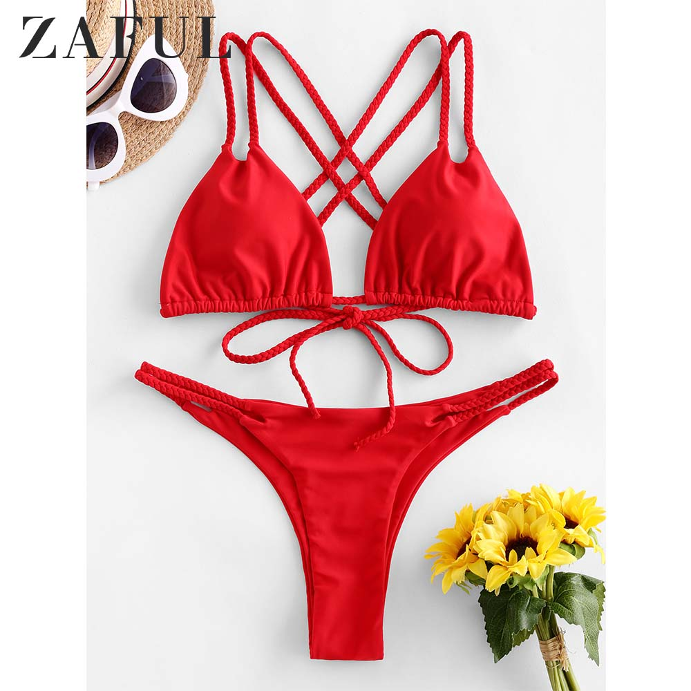 ZAFUL Braided Straps Criss Cross Low Waisted Bikini Swimwear Women Swimwear Sexy Pullover Swimsuit Biquni Bathing Suit 2020