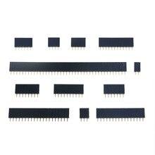 10 قطعة 2.54 مللي متر صف واحد الإناث 2-40P PCB المقبس مجلس رأس دبوس موصل قطاع Pinheader 1x2 P 3 4 6 10 12 14 16 20 40Pin