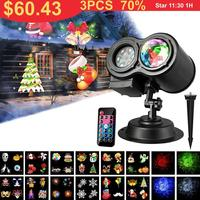 Christmas LED Projection Lamp Outdoor waterproof 12 16 Patterns Projector Spotlight Lawn Laser Light Holiday Garden Decoration
