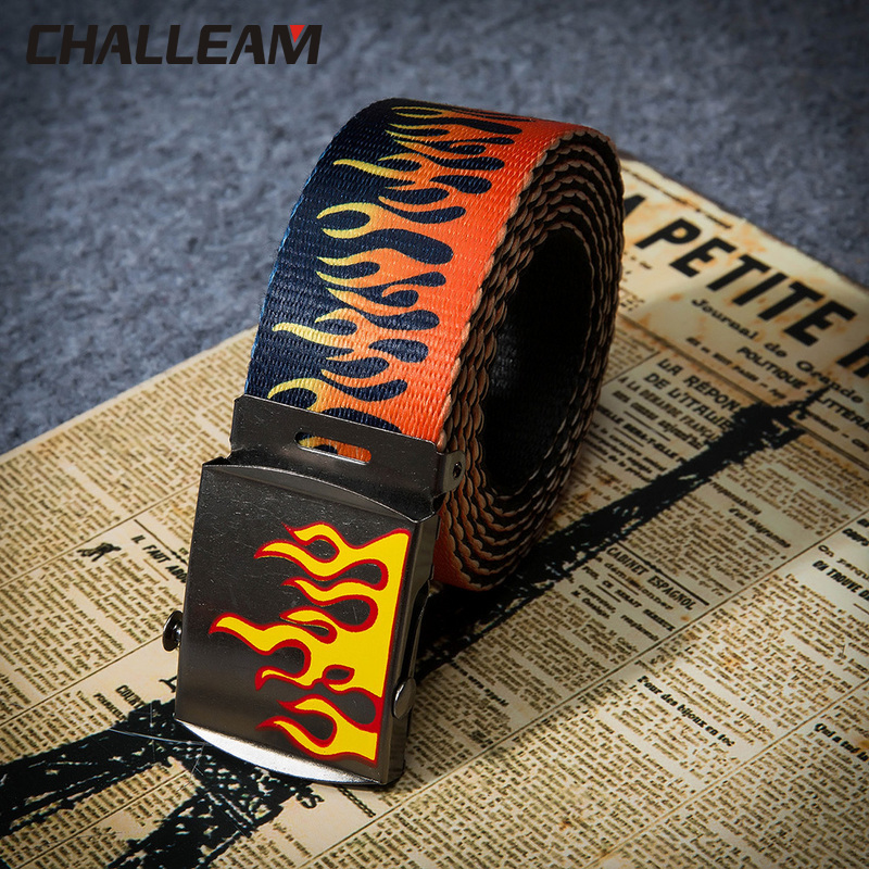 Chic Harajuku Fashion Hip Hop Flame Pattern Belt Fashion Jeans Belt Men's And Women's Unisex Ribbon Belt 379