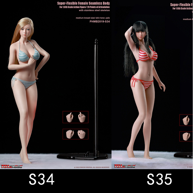 TBLeague <font><b>1/6</b></font> Female Super-Flexible Seamless <font><b>Body</b></font> - S34 / S35 Girl Whole Set <font><b>Action</b></font> <font><b>Figures</b></font> Model Sculpt Clothes Collections image