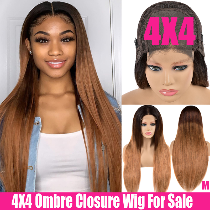 4x4 Closure Wig Ombre Human Hair Wig 150% Highlight Straight Lace Front Wig Remy Swiss Brazilian Lace Closure Wig For Women