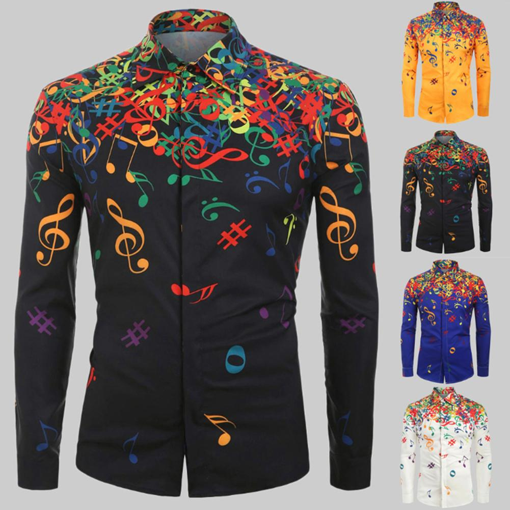 Casual Men Autumn Musical Symbols Print Long Sleeve Buttons Down Slim Shirt