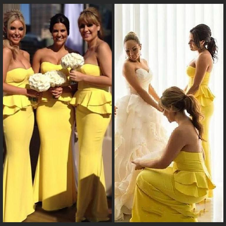 2015 Bright Yellow Bridesmaid Dresses Elegant Custom Sweetheart Strapless Peplum Satin Full Length Daffodil Bridesmaid Gowns