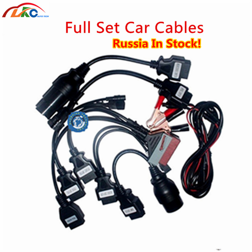 Russian in Stock ! Full <font><b>Set</b></font> TCS Scanner Car Cables OBD/<font><b>OBD2</b></font> diagnostic tool Connectors Car <font><b>Adapters</b></font> tcs Pro Car truck cables image