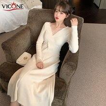 Vicone элегантное офисное длинное облегающее платье свитер с