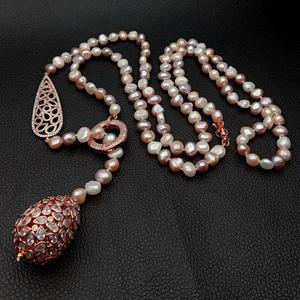 45'' Multi Color potato freshwater Pearl Rose Gold color Plated Connector Necklace sweater chain necklace