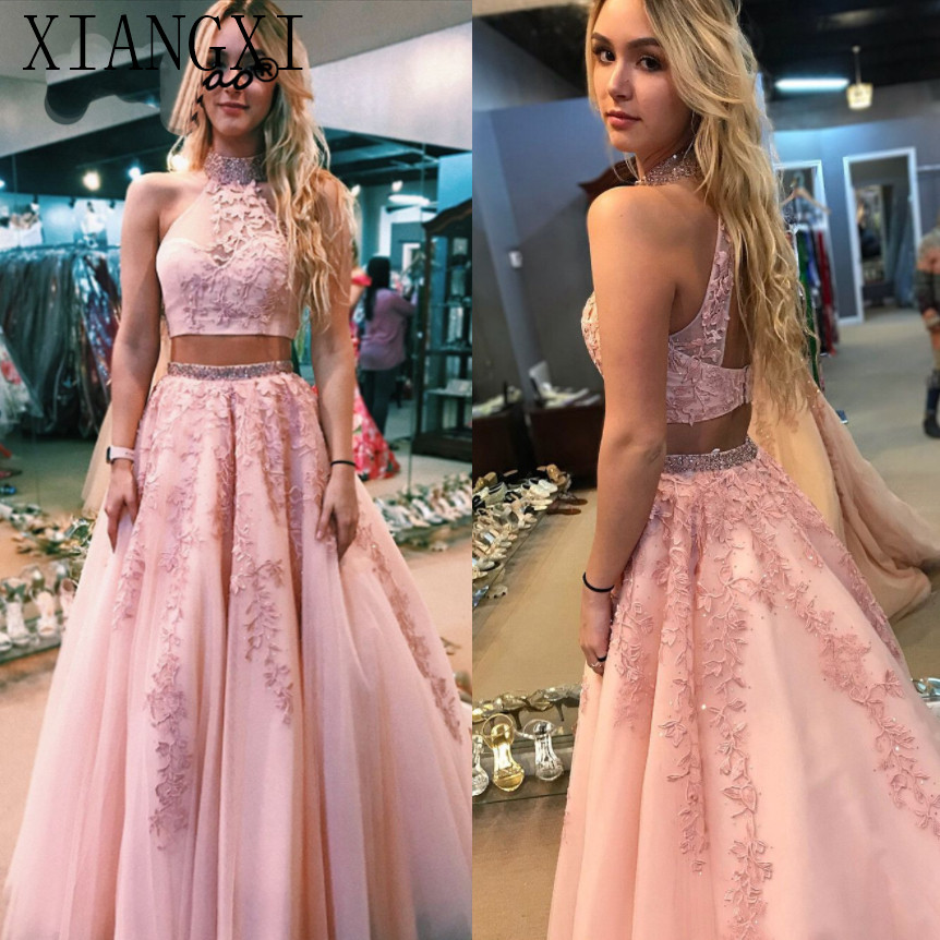 Blush Pink Two Piece Prom Dresses Long 2019 vestidos de fiesta largos elegantes de gala Lace Tulle Imported Party Dress Formal