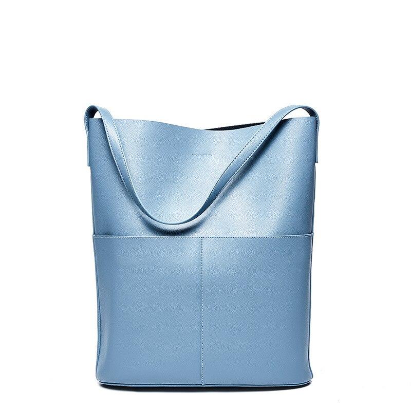 Tote Bags For Women Handbag Genuine Leather Hand Bag Shoulder 2Pcs Set Fashion Shopping Bag Bucket Large Composite Sac A Main