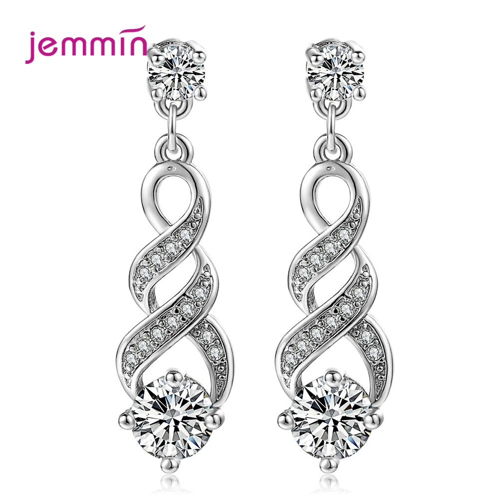 925 Sterling Silver Music Notes Drop Earrings Full CZ Clear Crystal Earring Musical Fans Pendientes for Women Fashion Jewelry