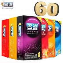Personage 60 pçs preservativos para homens 6 tipos ultra fina rosca de partícula natural látex spike preservativo adulto produto do sexo pequeno preservativo