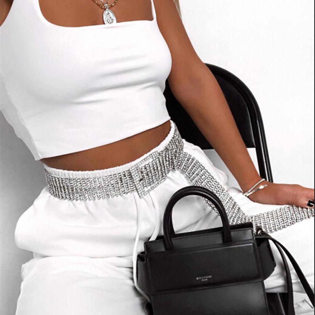 Full Rhinestone Sexy Belts Women 2020 Trendy Luxury Silver Shiny Diamond Party Club Crystal Waist Belt Accessories Chain Belt