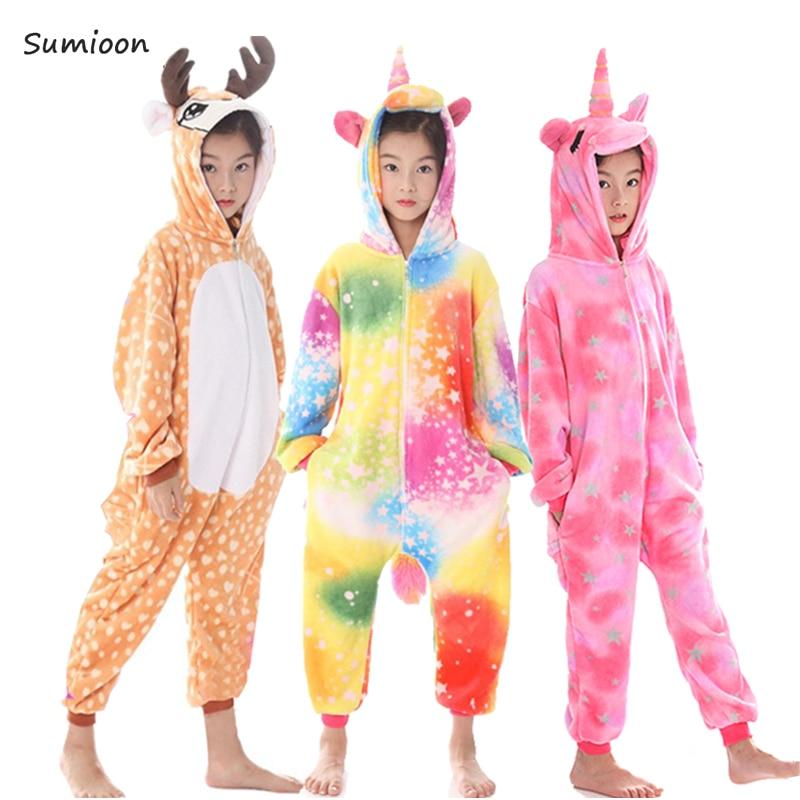 Kigurumi onesie crianças pijamas unicórnio pijamas para meninos meninas inverno animal pijamas crianças sleepwear macacão adolescente 4 6 8 10 ano