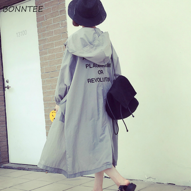 Trench Women Newest Summer Letter Printed All-match Hoodies Ulzzang Trendy Sun Protection Thin Female Long Coat Chic Oversize